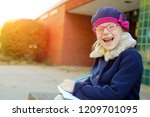 beautiful  happy blonde girl... | Shutterstock . vector #1209701095