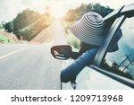 happy beautiful girl traveling... | Shutterstock . vector #1209713968