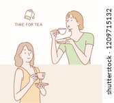 two women have a tea time. hand ... | Shutterstock .eps vector #1209715132