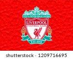 Liverpool, England Feb 01 2018 flag of Liverpool logo  made of plasticine
