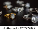 vintage gold jewelry blue... | Shutterstock . vector #1209727075