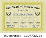 yellow certificate of... | Shutterstock .eps vector #1209732238