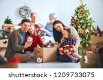 merry christmas and happy... | Shutterstock . vector #1209733075
