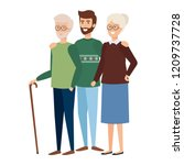 grandparents couple with son | Shutterstock .eps vector #1209737728