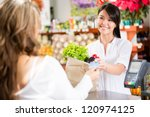 shopping woman at the checkout... | Shutterstock . vector #120974125