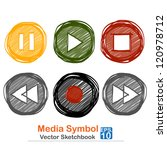 media symbol   vector sketchbook | Shutterstock .eps vector #120978712