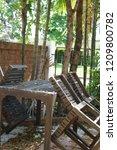 table garden brown | Shutterstock . vector #1209800782