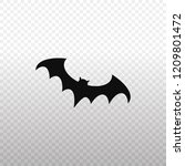 solid icon black bat icon on... | Shutterstock .eps vector #1209801472