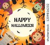 happy halloween with halloween... | Shutterstock .eps vector #1209816232