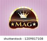 golden emblem with queen crown ... | Shutterstock .eps vector #1209817108