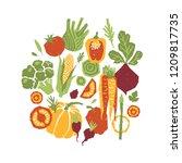papercut style vegetables... | Shutterstock . vector #1209817735