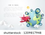time to travel  paper art of... | Shutterstock .eps vector #1209817948