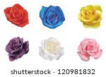 Stock vector  red yellow blue pink white purple realistic color roses flower flora icon collection set in 120981832