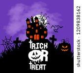 happy halloween banner with... | Shutterstock .eps vector #1209838162