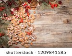 christmas background on old... | Shutterstock . vector #1209841585