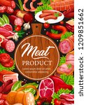 meat delicatessen and sausages  ... | Shutterstock .eps vector #1209851662