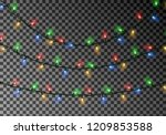 christmas color lights string.... | Shutterstock .eps vector #1209853588