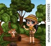 young cute girl scout waving... | Shutterstock .eps vector #1209855025