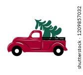 christmas truck.  vector... | Shutterstock .eps vector #1209857032