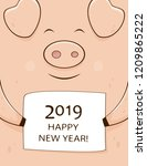 pink smiling pig holding card... | Shutterstock . vector #1209865222