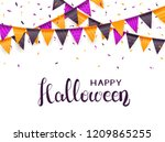 lettering happy halloween on... | Shutterstock . vector #1209865255