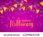 lettering happy halloween on... | Shutterstock . vector #1209865258