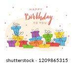 holiday card. colorful presents ... | Shutterstock . vector #1209865315