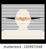 pry through jalousie. watching... | Shutterstock .eps vector #1209871468