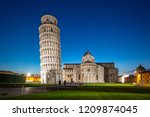 night view of pisa cathedral... | Shutterstock . vector #1209874045