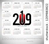 2019 calendar template   Shutterstock .eps vector #1209883822