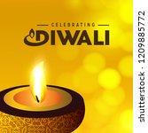 diwali design with yellow...   Shutterstock .eps vector #1209885772