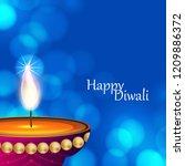happy diwali blue glowing...   Shutterstock .eps vector #1209886372