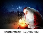 santa with beard and red hat... | Shutterstock . vector #120989782