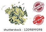 military camouflage composition ...   Shutterstock .eps vector #1209899398
