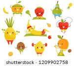 funny fruits doing sports ... | Shutterstock .eps vector #1209902758
