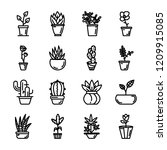 potted plants icons  | Shutterstock .eps vector #1209915085