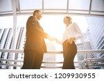 handshake between teamwork of... | Shutterstock . vector #1209930955