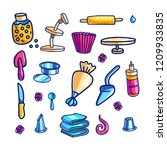 cake decorating tools hand... | Shutterstock .eps vector #1209933835