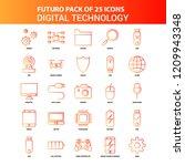 orange futuro 25 digital... | Shutterstock .eps vector #1209943348
