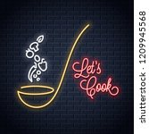 soup ladle with vegetables neon ... | Shutterstock .eps vector #1209945568