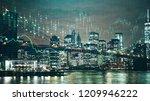 illuminated new york night city ... | Shutterstock . vector #1209946222