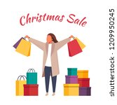shopping woman with shopping... | Shutterstock .eps vector #1209950245