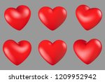 vector illustration  red hearts ... | Shutterstock .eps vector #1209952942