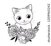 cute kitten with flowers....   Shutterstock .eps vector #1209965242