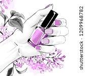 elegant female hand with...   Shutterstock .eps vector #1209968782