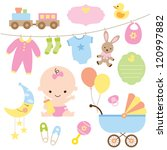 Vector illustration of baby and related items.