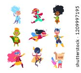 superhero kids. children... | Shutterstock .eps vector #1209997195
