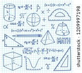 doodle maths and geometry... | Shutterstock .eps vector #1209997198