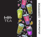 bubble tea hand drawn... | Shutterstock .eps vector #1209999958