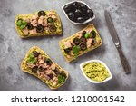 bruschetta with tuna  olives... | Shutterstock . vector #1210001542